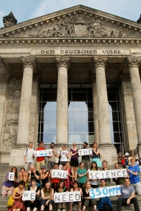 Look at the f***ing science we need. 350ppm. Bundestag, Berlin